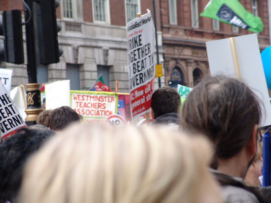 Westminster Teachers Association banner in the sea of banners down Whitehall